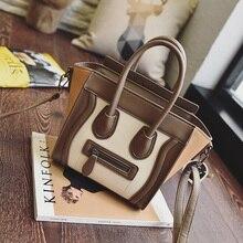 2017 Bolsos Mujer Trapez Smiley Tote Bag Luxury Brand künstliche Leder Frauen Handtasche Schultertasche Crossbody Taschen