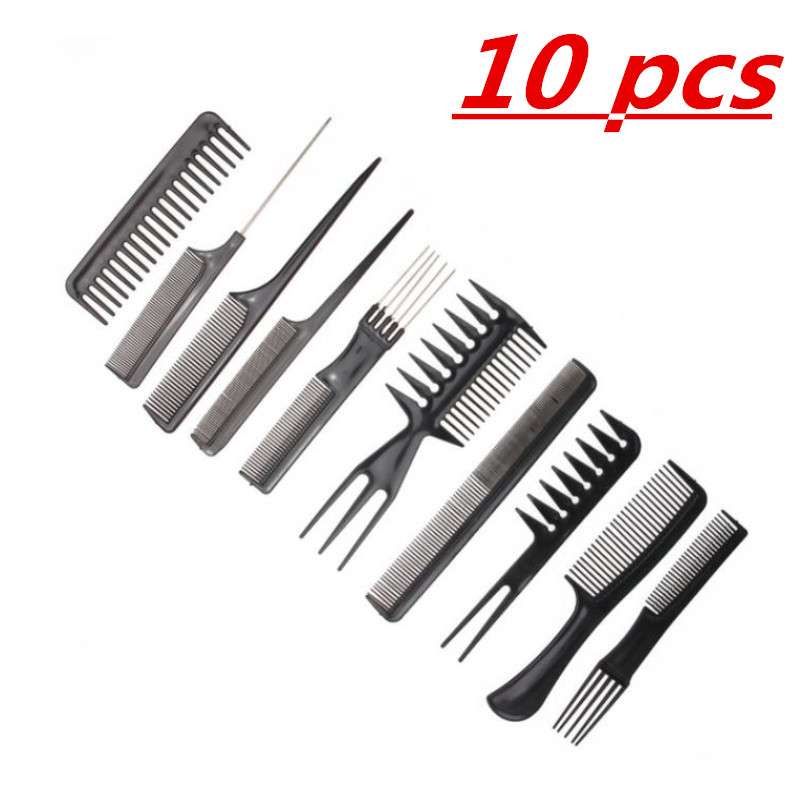 Best New 10pcs/Set Professional Hair Brush Comb Salon Barber Hair Combs Hairbrush Hairdressing Combs Hair Care Styling Tools