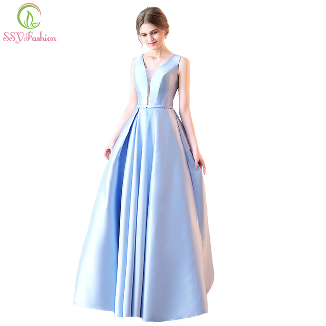 9cca56830d77 SSYFashion Summer New Evening Dress The Bride Luxury Light Blue Satin V-neck  Elegant Lace Prom Party Gown Reflective Dress