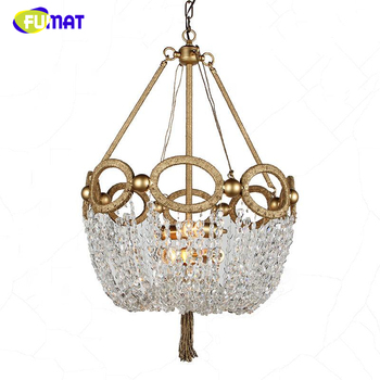 FUMAT américain K9 lustres en cristal nordique créatif pastorale lumières pour salon salle à manger LED Lustre or cristal lumières