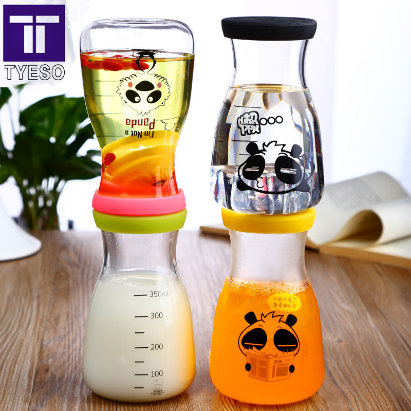 350ml lovely panda milk bottle present bottle sleeve glasses bottle four colors tumbler to kids birthday gifts water bottle