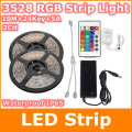 10m 3528 RGB led strip color changing waterproof fleixble strips set + 24 Keys IR remote controller + 12V 5A 60W power adapter