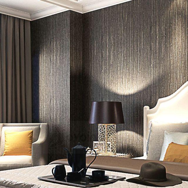 Metallic Vertical Faux Grasscloth Emboss Texture Wallpaper Modern Plain Solid Color Vinyl Straw