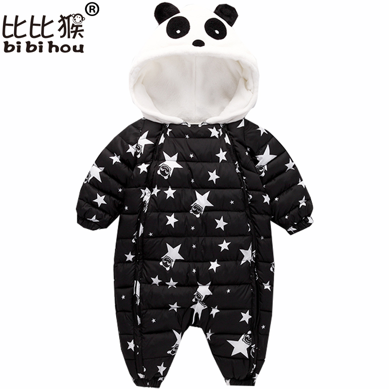 Bibihou Newborn Baby winter clothes Baby snowsuit down Rompers windproof Star Panda girl boy Warm infant romper fur Hooded bebe 2 5 years russian winter baby white duck down rompers with real fur hood outdoor skit snowsuit girls clothing infant boy romper