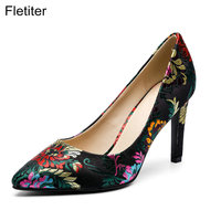 Fletiter Top Quality Elegant Embroider Black Color Women Pumps Pointed Toe Thin High Heels 2018 New