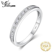 JewelryPalace Cubic Zirconia Half Eternity Channel Set Wedding Band 925 Sterling Silver Rings Promise Anniversary Fashion Women