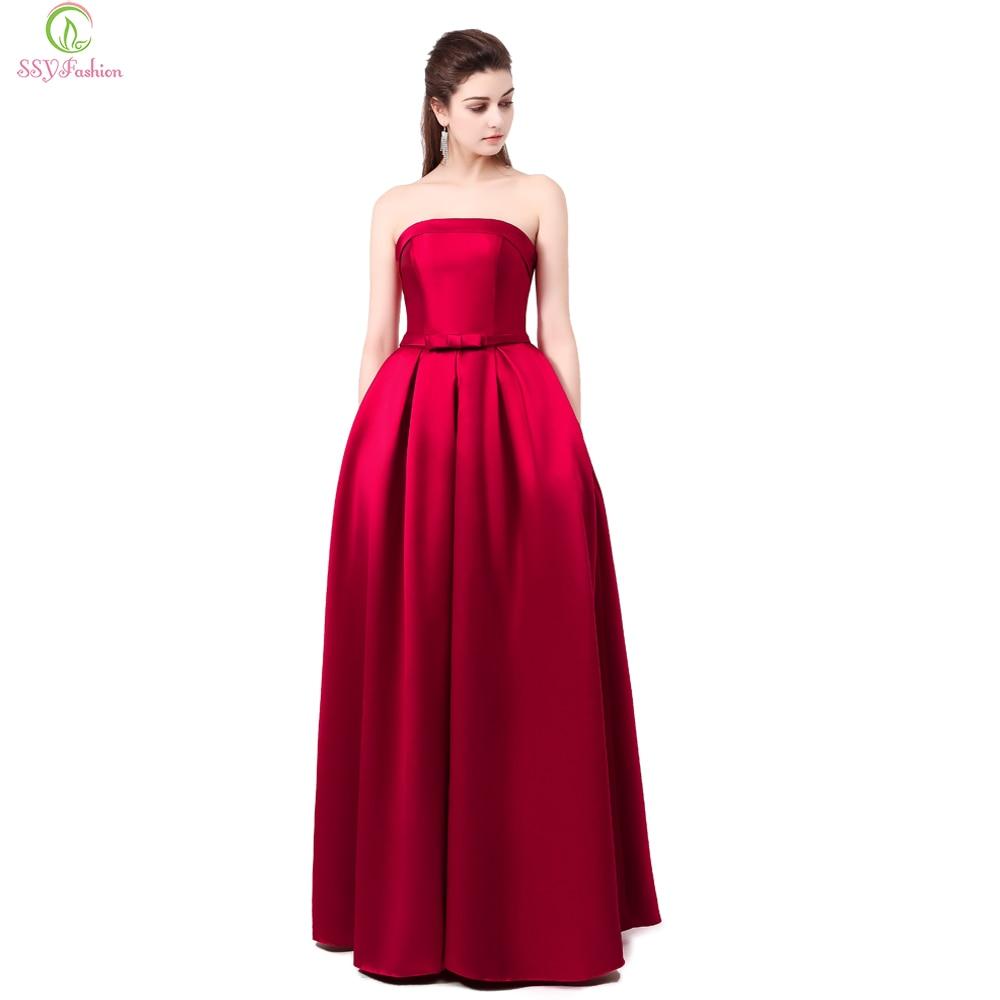 Vestido SSYFashion Formatura Bridal Strapless Sleeveless Wine Red Danni Slim Long Prom Dress Custom Party Formal Evening Gown