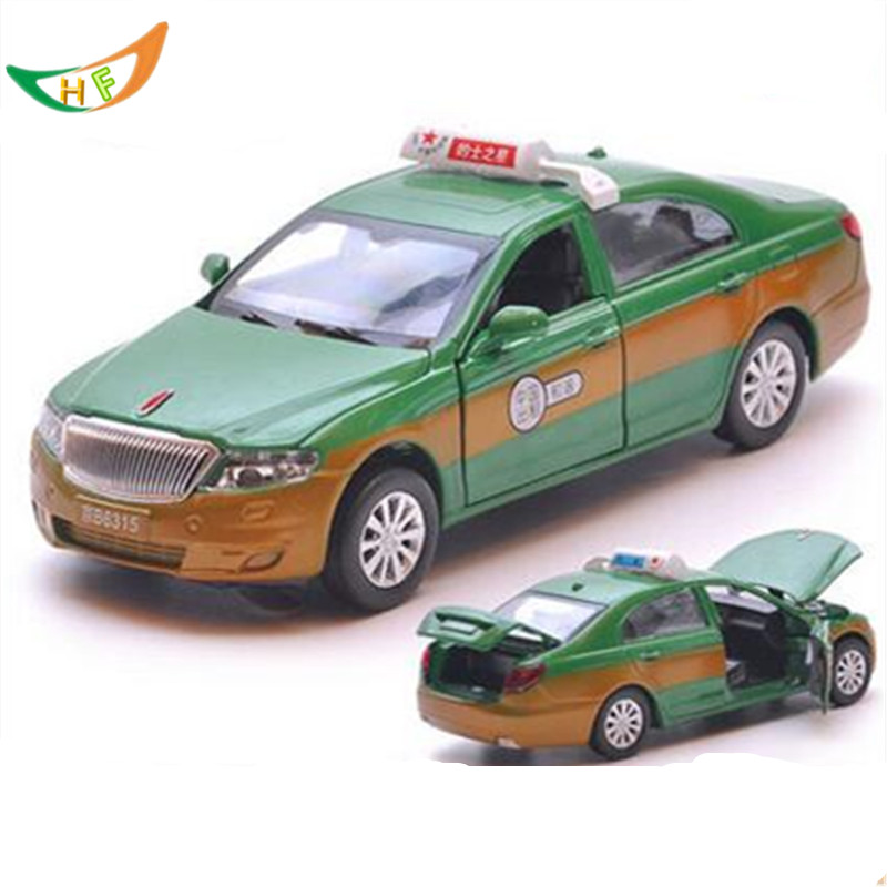 Battery taxi alloy car model toy acoustooptical red flag four door toy one piece car kids toys