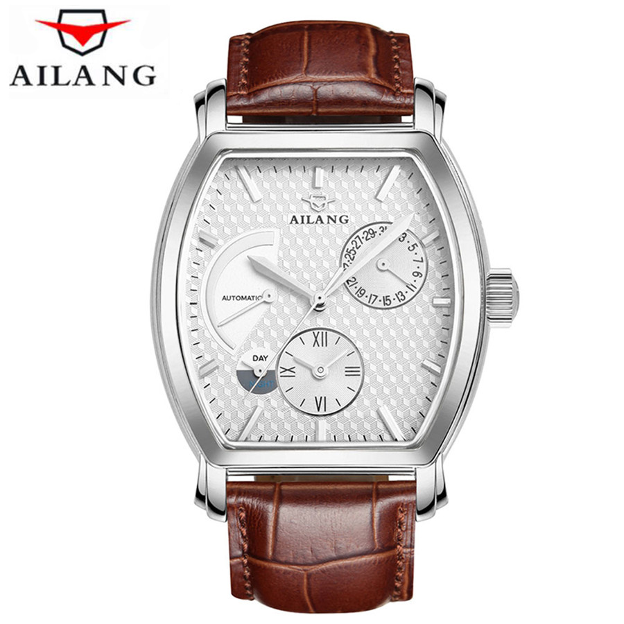 Automatic Mechanical Watch Men Multifunctional Dual Time Zone Kinetic Energy Display Waterproof Leather Men'S Business Clock цена
