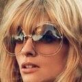 Óculos de sol das mulheres óculos de marca de moda de grandes dimensões Polar rodada moldura de Metal oco Sunglass Gafas Mujer óculos Occhiali