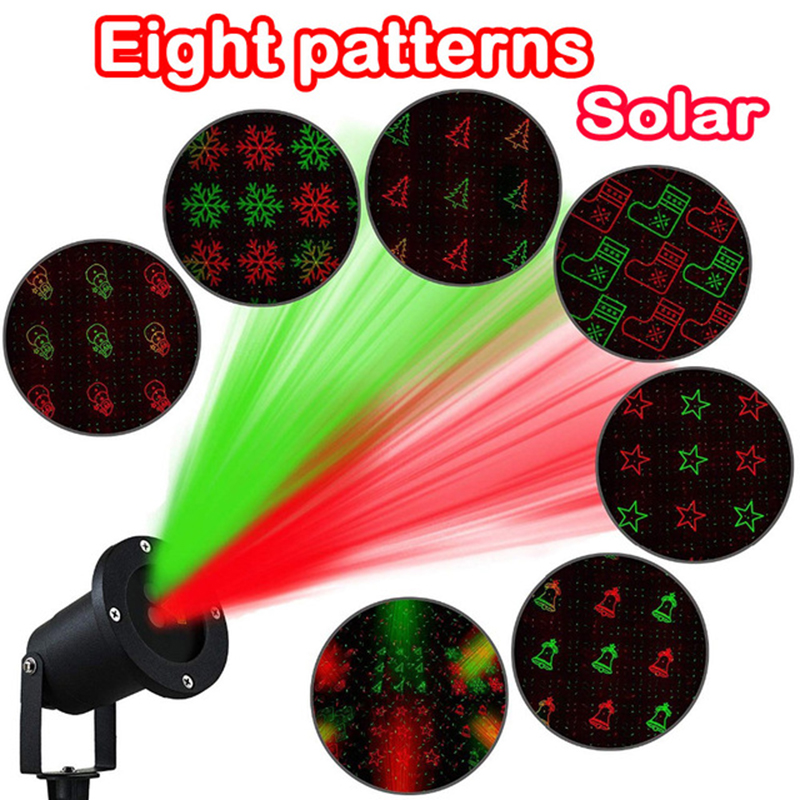 8patterns Solar Projection Light Christmas Laser Projector Outdoor Holiday Waterproof Laser light for Party Garden Decor