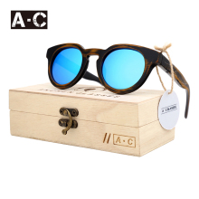 A.C 2017 New fashion Products Men Women Glass Bamboo Sunglasses au Retro Vintage Wood Lens Wooden Frame Handmade ZE05