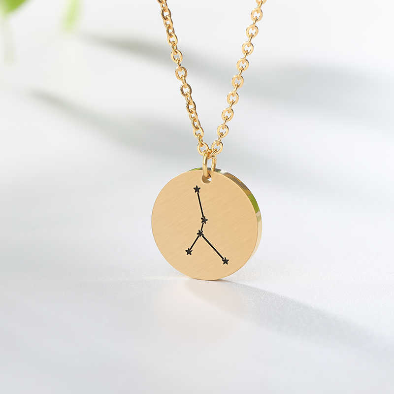 Constellation Jewelry Daisies Zodiac Necklace Women Stainless Steel Virgo Libra Scorpio Sagittarius Capricorn Aquarius Collares