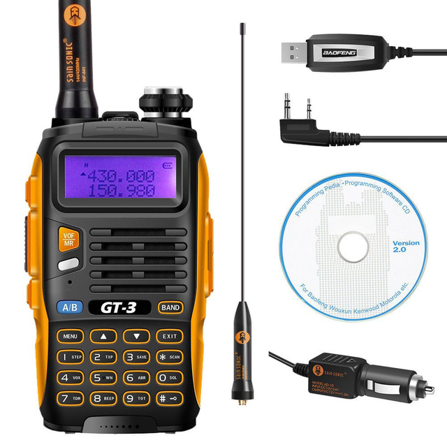 Baofeng GT-3 Mark II  VHF/UHF 136-174/400-520 MHz Dual Band FM Ham Two Way Radio Walkie Talkie + USB Programming Cable&CD