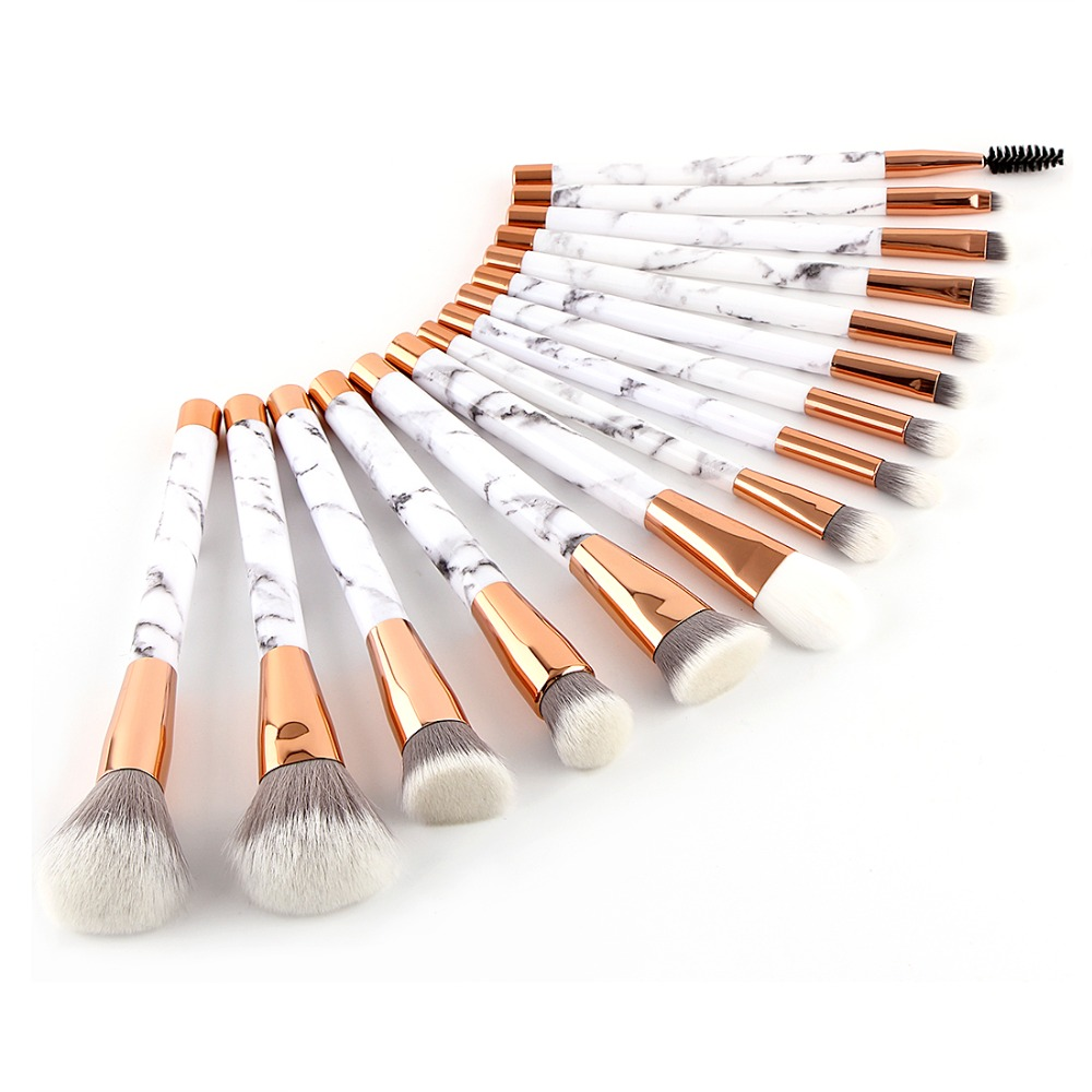 BBL 15pcs/set Marble Handle Makeup Brushes Kits Foundation Powder Eyebrow Eyelashes Shadow Brush Blush Portable Cosmetics Tools pro 15pcs tz makeup brushes set powder foundation blush eyeshadow eyebrow face brush pincel maquiagem cosmetics kits with bag