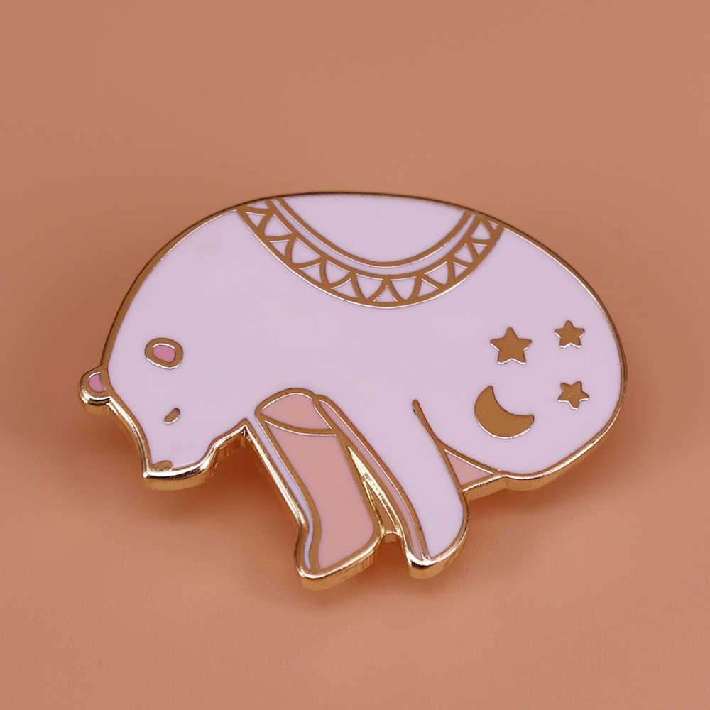 Yıldızlı gece ayı emaye pin arctic hayvan broş ay yıldız rozeti sevimli iğneler sanat takı polar ayı hediye