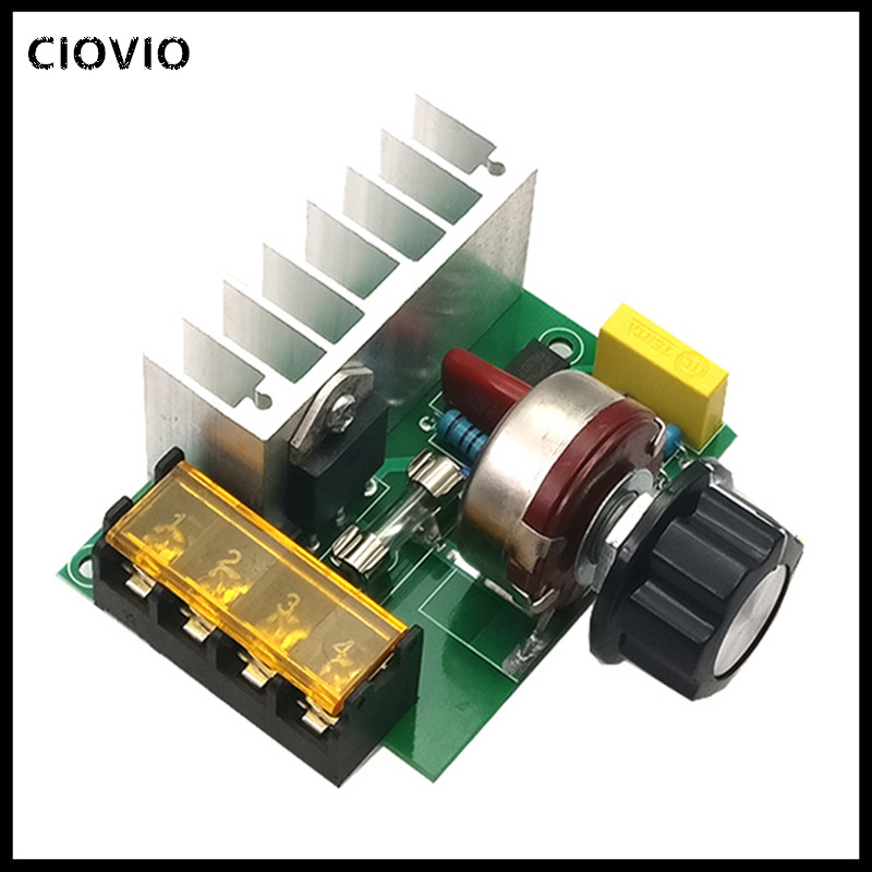 CIOVIO 2pcs 4000W <font><b>AC</b></font> <font><b>220V</b></font> SCR <font><b>Voltage</b></font> <font><b>Regulator</b></font> Adjustable Power Supply Board Speed Control Dimmer for Electric Iron image