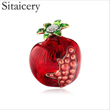 Sitaicery Enamel Red Pomegranate Fruit Brooch Cute Gift Accessories Suit Lapel Pin Men Womens Clothing Badges Scarf Buckles