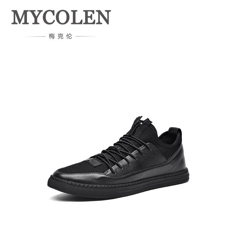 MYCOLEN The New Listing Brand Men Shoes New Fashion Sneakers 2018 Black And White Breathable Lace Up Casual Man's Shoes mycolen the new listing men shoes brand new fashion mens sneakers 2018 breathable elastic band casual shoes man sepatu pria