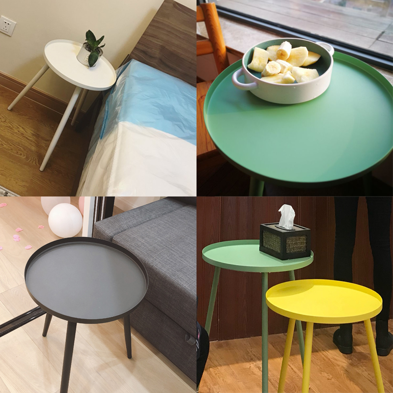 Nordic wrought iron small coffee table modern minimalist corner living room side table several balcony tray table bed round tabl simple modern toughened glass small round bar table living room home leisure fashion high round table