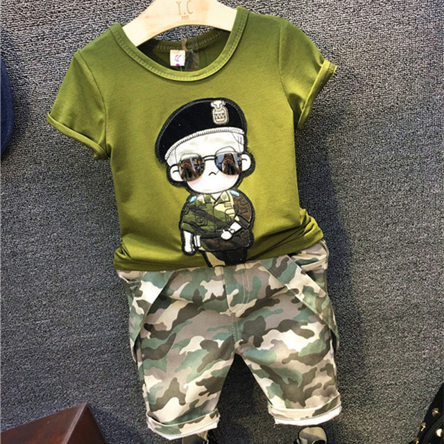 New Arrival 2016 Toddler Boys Clothing Set Kids Clothes Fashion Short Sleeve T Shirt+Camouflage Overall Boys 2Pcs Set 2-7Y