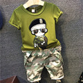 Nova Chegada 2016 Criança Set Roupas Meninos Crianças Roupas Da Moda Camisa de Manga Curta T + Camuflagem Macacão Meninos 2 Pcs Set 2-7A