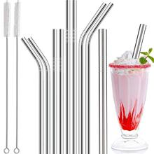 9Pcs Reusable Stainless Steel Straws Set Straight Bent Beverage Straw with Cleaning Brush Bar Household Accessory Drinking Tool