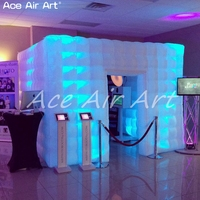 Best Quality 3.6m Cheap Led Cube tent Inflatable Photo Booth,party foto booth trade canopy with sticker curtains For Sale