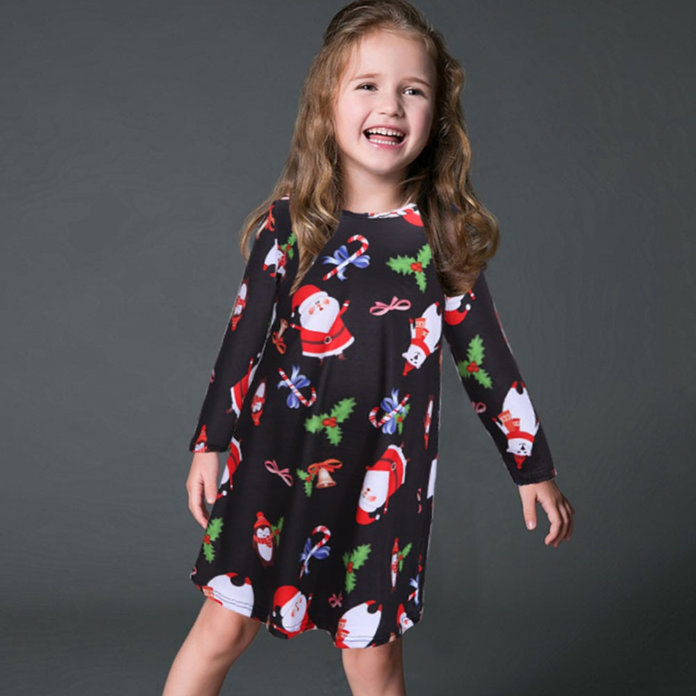 Christmas dress boutiques - Black Friday Christmas Series Santa Clause Bell Tree Printing Black Girls Dress Cotton Boutique Sassy Girls New Year Clothing Christmas Dress