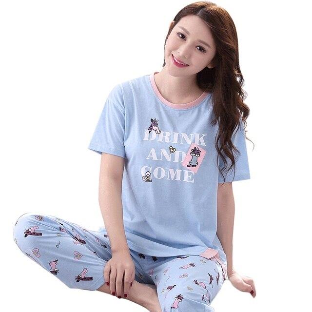 07a496a3fd00f Plus Size M-3XL Women Clothes for Summer Pajamas Sets O-Neck Sleepwear Sky