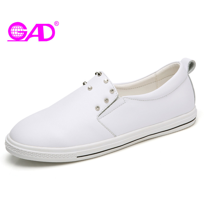 GAD New Fashion Women Flats Spring/Autumn Soft Leather Round Toe Comfortable Women Casual Shoes Black White Flat Shoes Women new listing pointed toe women flats high quality soft leather ladies fashion fashionable comfortable bowknot flat shoes woman