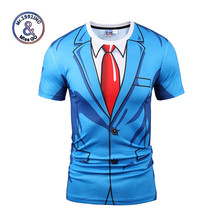 Mr.1991INC Brand T-shirt Men/Women Fashion 3d Tshirt Print Blue Suit Jacket Summer Tops Tees Fake Two Pieces T Shirt