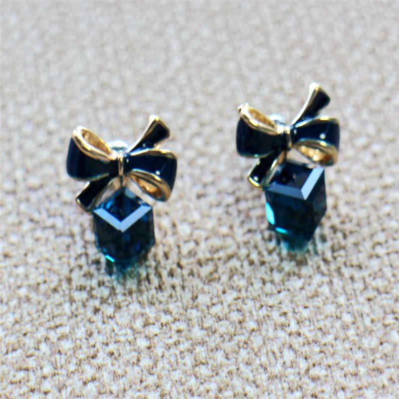 MJARTORIA ファッション 2019 シックなシマーボウノット立方晶イヤリングラインストーンのスタッドピアス高品質 Pendientes