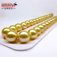 YANCEY JEWELRY 18 inch natural South Pacific sea gold pearl necklace 12 15MM, high end luxury