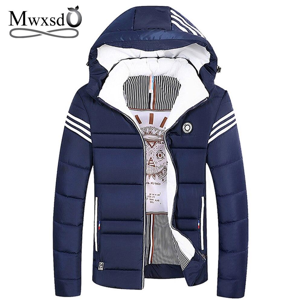 Mwxsd brand Men's Winter Warm thick   parkas   Coat men Casual Windbreak hooded   parkas   Jackets M-4XL