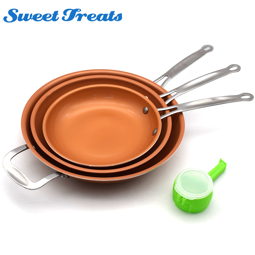 Sweettreats A Set 8/10/12 inch Non-stick Copper Frying Pan +1 pc  Food Sealing ClipSweettreats A Set 8/10/12 inch Non-stick Copper Frying Pan +1 pc  Food Sealing Clip