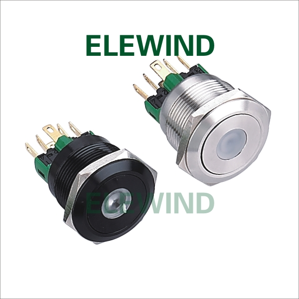 ELEWIND 22mm Stainless steel Dot illuminated  Momentary push button switch(PM221F-11D/R/12V/S) gztophid made in japan denso ballast d4s d4r xenon ballast