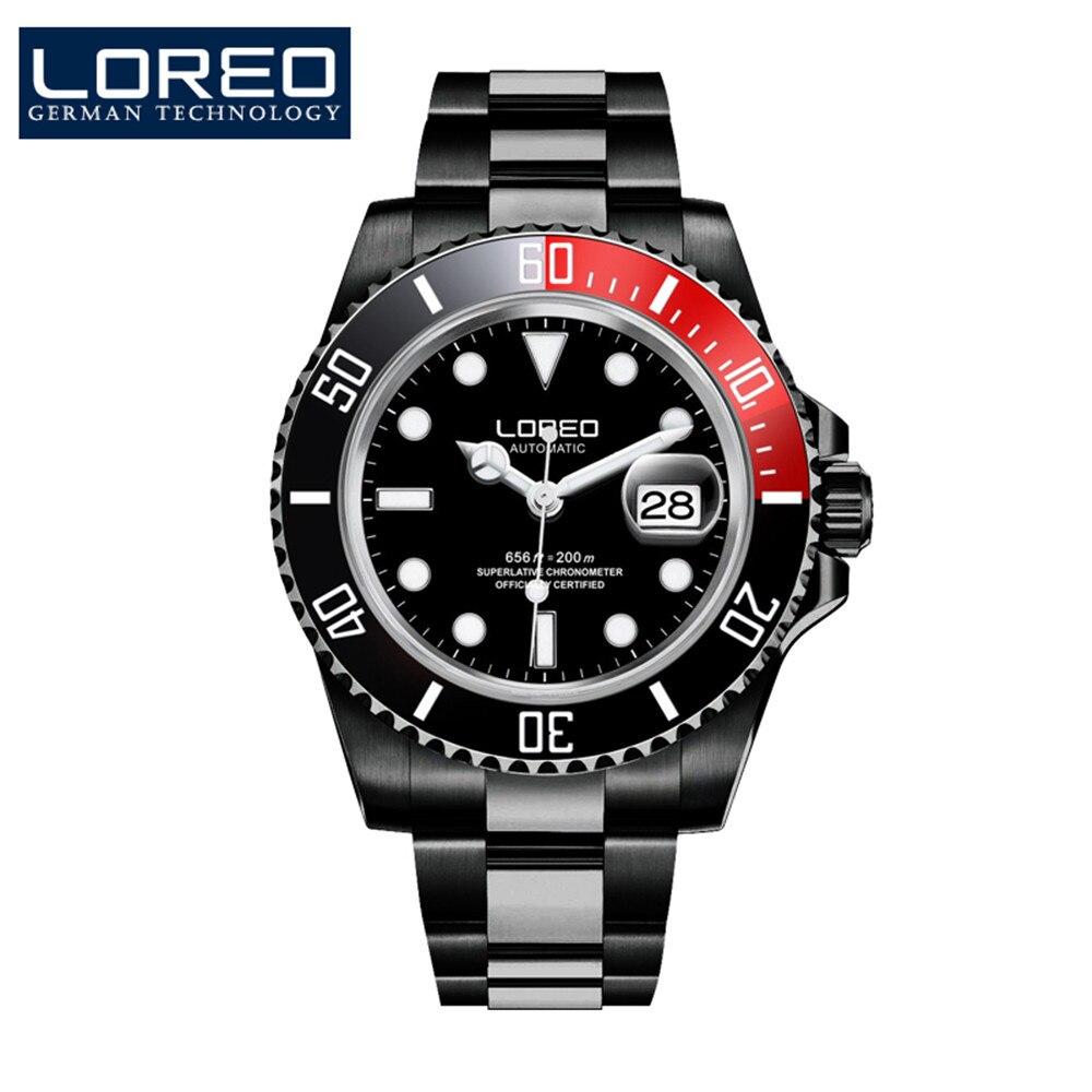 LOREO Automatic Mechanical Wristwatches Mens Watches Top Brand Luxury Sapphire Luminous Diver 200M Men Watch Relogio Masculino
