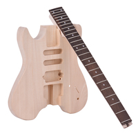 ammoon Unfinished DIY Electric Guitar Kit Basswood Body Rosewood Fingerboard Maple Neck Special Design