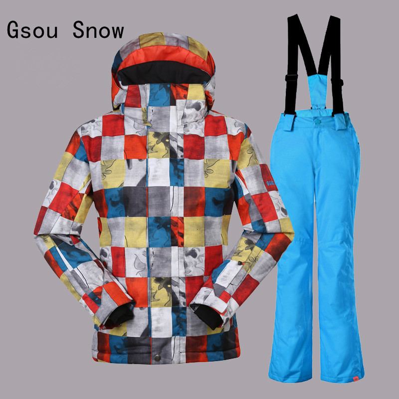 Boys Gsou Snow Band Ski Suit Winter Warm Clothing Outdoor Sport Wear Skiing Snowboard Jacket+Pants Windproof Waterproof Clothing