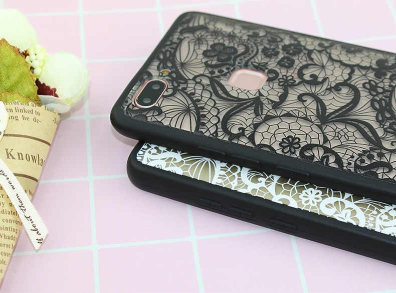 ลูกไม้ดอกไม้รูปแบบซิลิโคนนุ่มสำหรับ Huawei P8 P9 P10 Nova 2i P สมาร์ท Mate 9 10 P20 pro Plus Lite Honor 6c Pro V8 V9