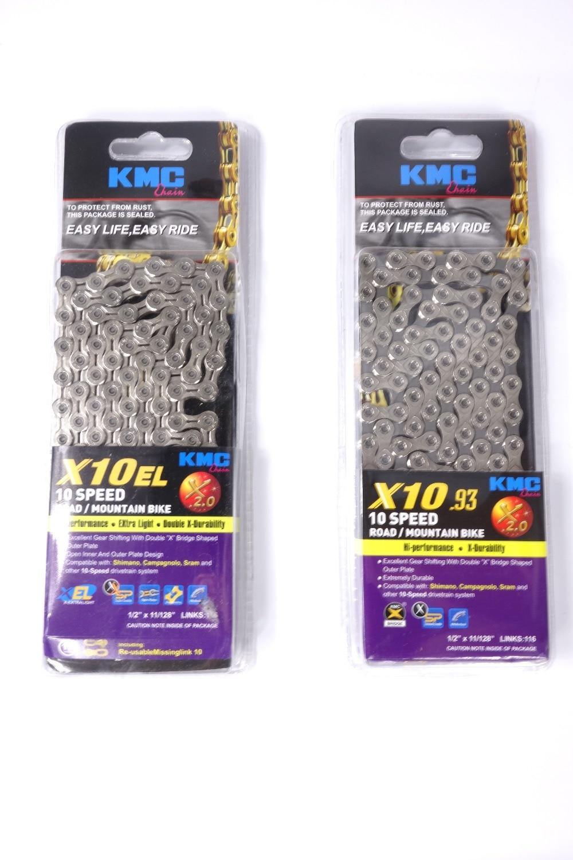купить  KMC 10 Speed bicycle chain 116L with connecting link, X10.93 or X10EL - drop shipping  недорого