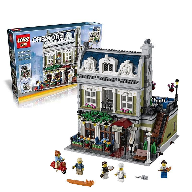legoing NEW Lepin 15010 Expert City Street Parisian Restaurant Model Building Kits Blocks Funny Children Toys Compatible 10243 dhl new 2418pcs lepin 15010 city street parisian restaurant model building blocks bricks intelligence toys compatible with 10243
