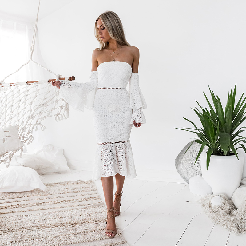 midi dress <font><b>elegant</b></font> <font><b>sexy</b></font> <font><b>party</b></font> <font><b>club</b></font> beach long casual wihte long sleeve <font><b>bodycon</b></font> <font><b>off</b></font> <font><b>shoulder</b></font> lace women <font><b>2018</b></font> summer runway image