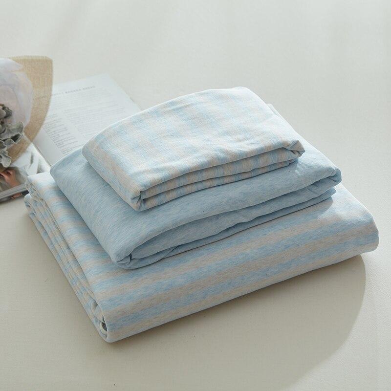 4pcs jersey knitted sheets set 100 cotton bedding set pastel blue strip duvet covers queen king. Black Bedroom Furniture Sets. Home Design Ideas
