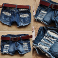 Girls Retro Low Waist Ripped Flange Hole Wash White Jean Denim Shorts