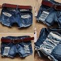 Meninas Retro Cintura Baixa Ripped Flange Buraco Wash Branca Jean Denim Shorts