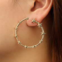 2019 Fashion Top Popular Earrings Silver/Gold Stainless Steel Lady Big STAR Shape Hoop Earrings Boucle d'oreille Y10#N(China)