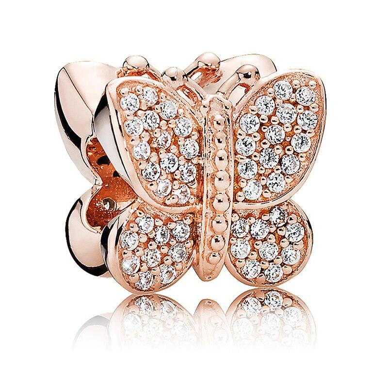 Аутентичные бусины из стерлингового серебра 925 очаровательный, с мелкими драгоценными камнями золото лаванды проложить бабочка с Кристалл ...