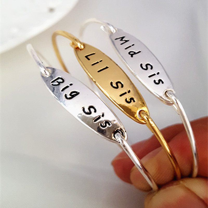 Big Mid Middle Little Lil Sister Sis Bangle Family Friends Bangles Femme Lady Bracelet For Women Girls Jewelry Friendship Gifts